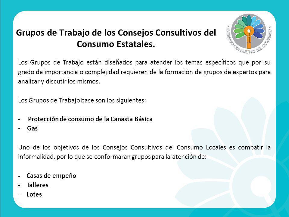 Grupos de Trabajo de los Consejos Consultivos del Consumo Estatales.