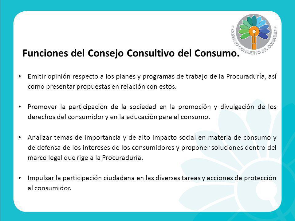 Funciones del Consejo Consultivo del Consumo.