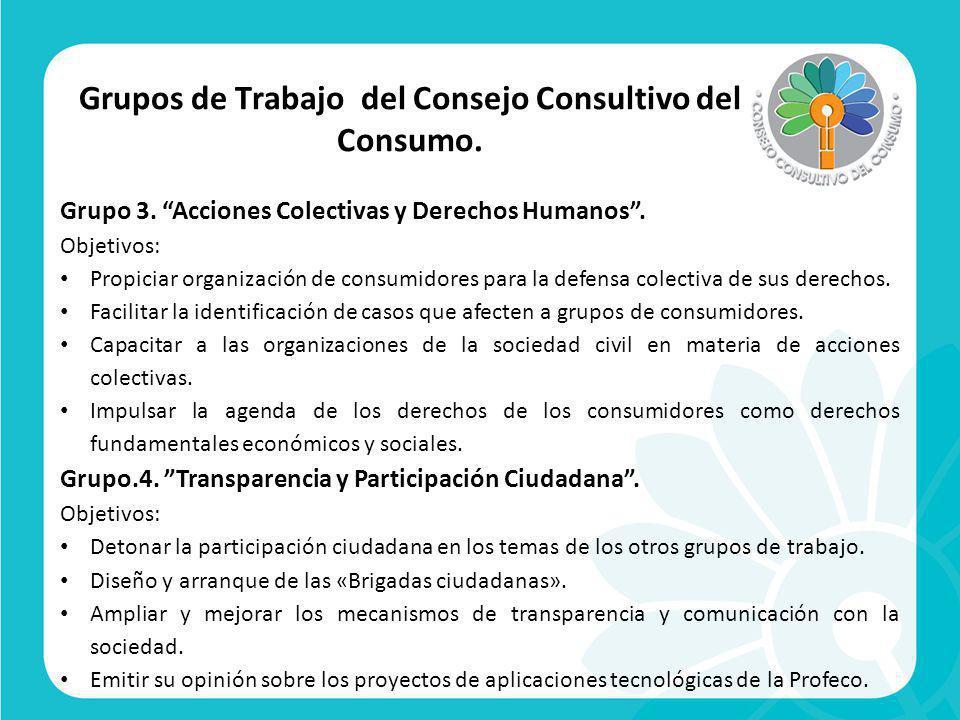 Grupos de Trabajo del Consejo Consultivo del Consumo.