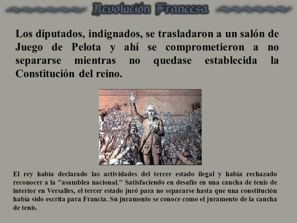Los diputados, indignados, se trasladaron a un salón de Juego de Pelota y ahí se comprometieron a no separarse mientras no quedase establecida la Constitución del reino.