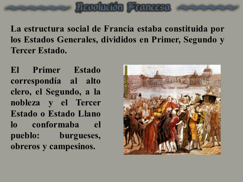 La estructura social de Francia estaba constituida por los Estados Generales, divididos en Primer, Segundo y Tercer Estado.