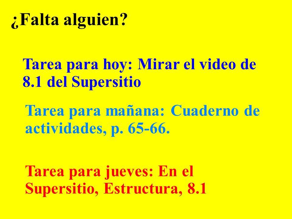 ¿Falta alguien Tarea para hoy: Mirar el video de 8.1 del Supersitio