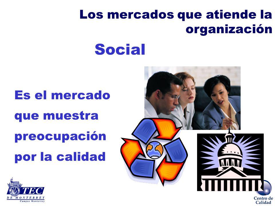 Social Los mercados que atiende la organización Es el mercado