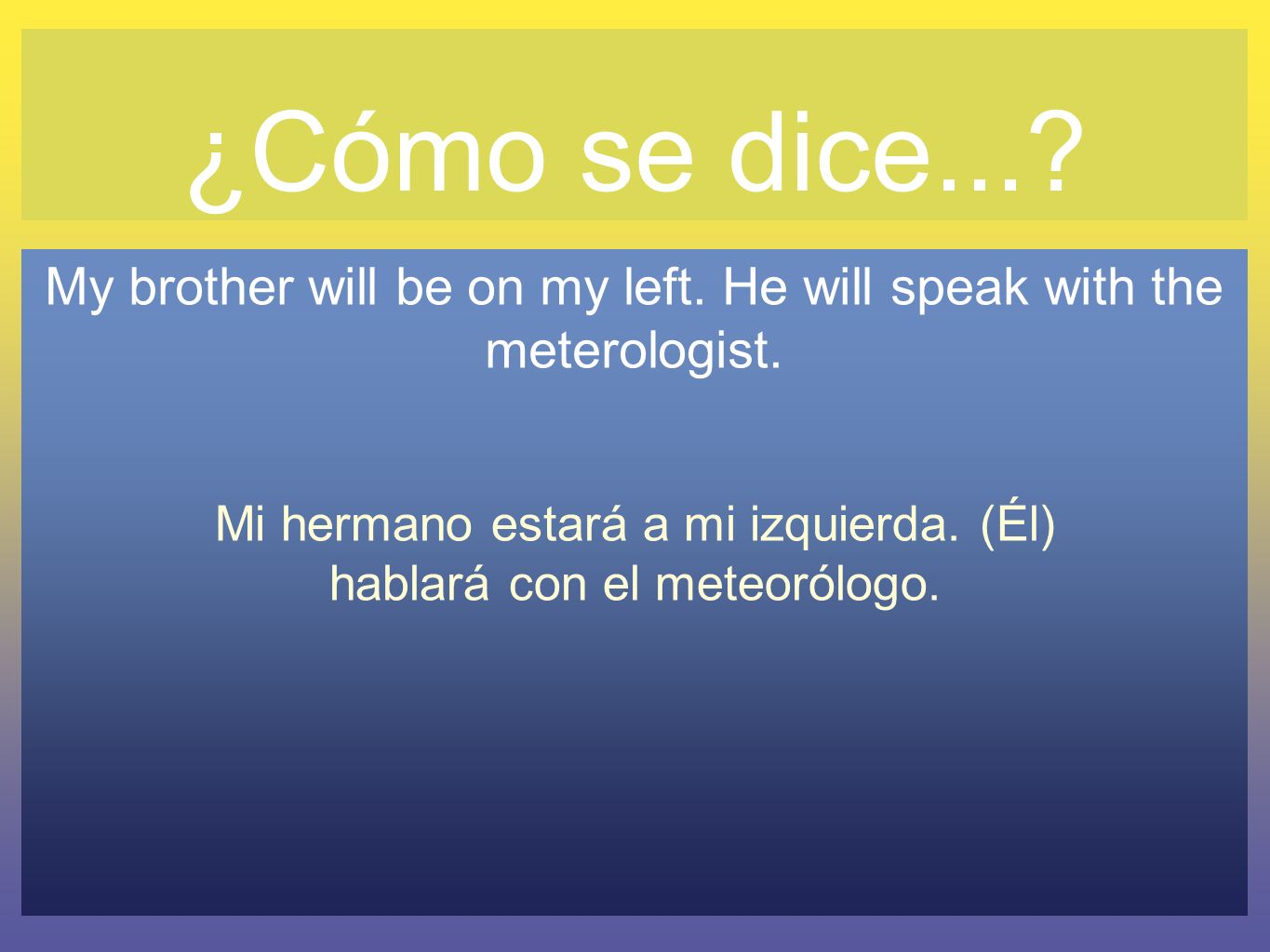 ¿Cómo se dice... My brother will be on my left. He will speak with the meterologist.
