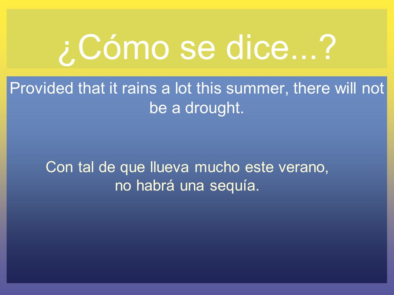 ¿Cómo se dice... Provided that it rains a lot this summer, there will not be a drought.
