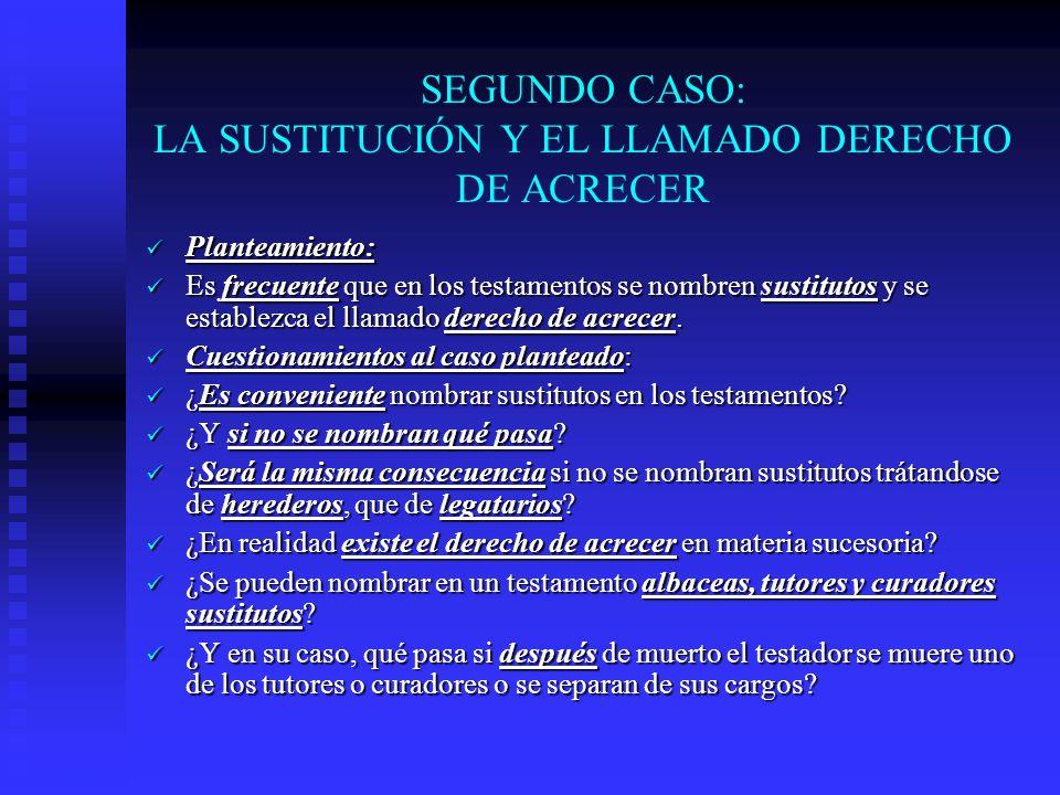 SEGUNDO CASO: LA SUSTITUCIÓN Y EL LLAMADO DERECHO DE ACRECER