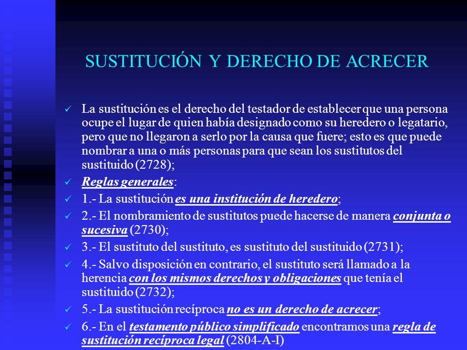 SUSTITUCIÓN Y DERECHO DE ACRECER
