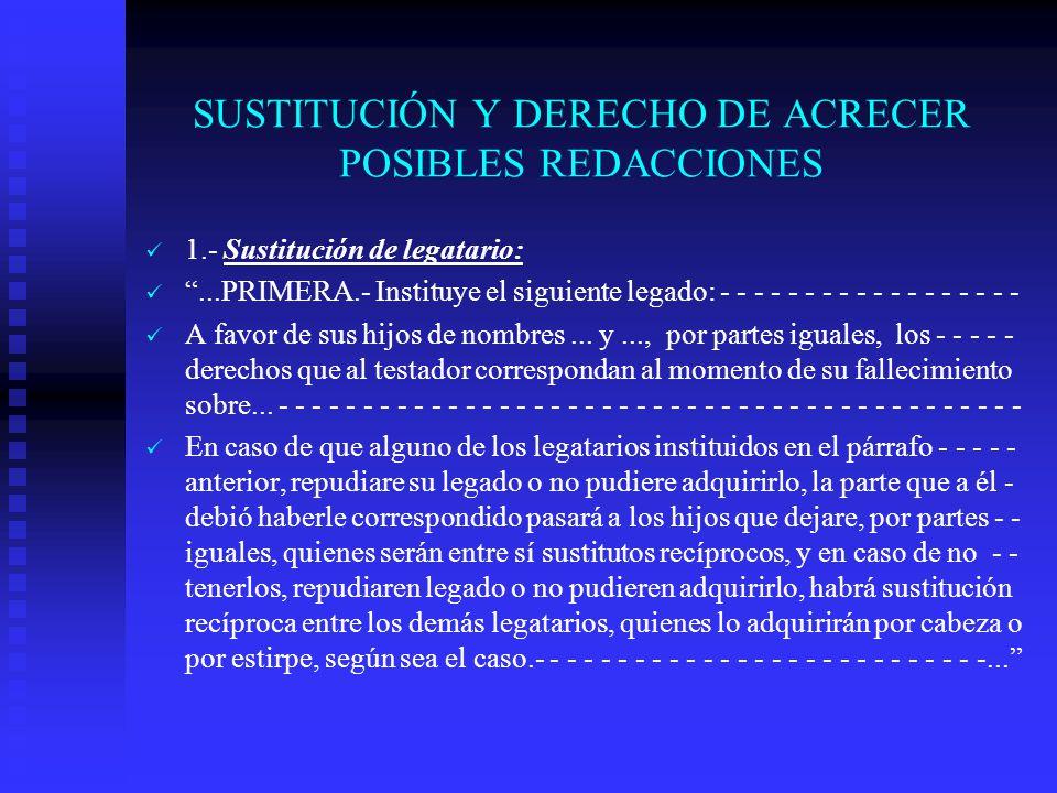 SUSTITUCIÓN Y DERECHO DE ACRECER POSIBLES REDACCIONES
