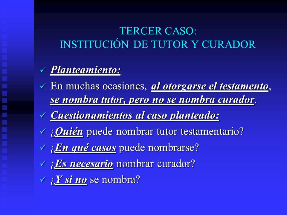 TERCER CASO: INSTITUCIÓN DE TUTOR Y CURADOR