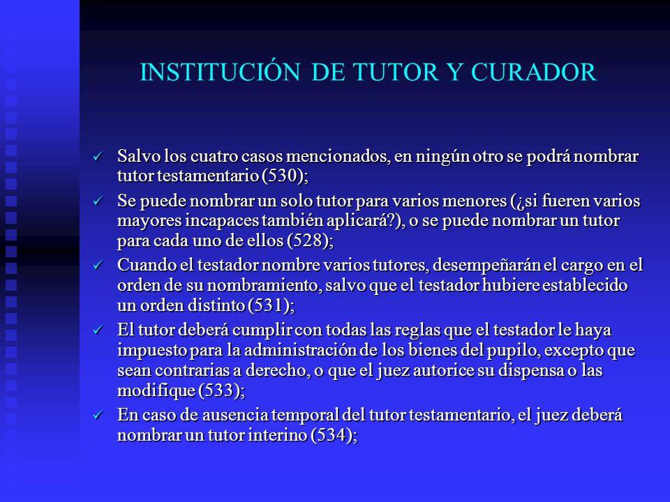INSTITUCIÓN DE TUTOR Y CURADOR