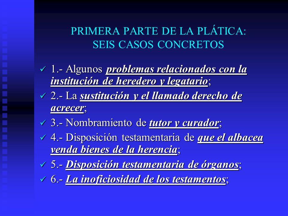 PRIMERA PARTE DE LA PLÁTICA: SEIS CASOS CONCRETOS