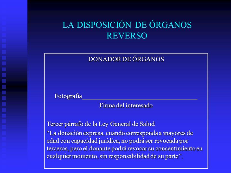 LA DISPOSICIÓN DE ÓRGANOS REVERSO
