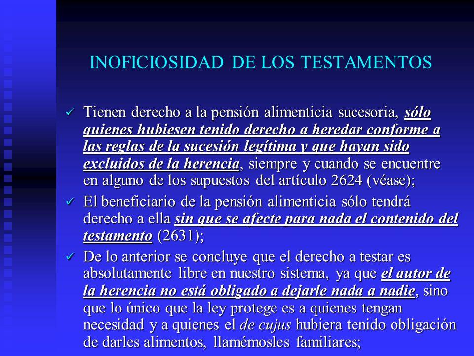 INOFICIOSIDAD DE LOS TESTAMENTOS