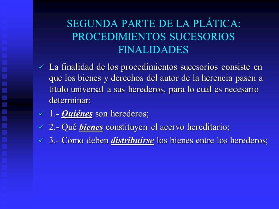 SEGUNDA PARTE DE LA PLÁTICA: PROCEDIMIENTOS SUCESORIOS FINALIDADES