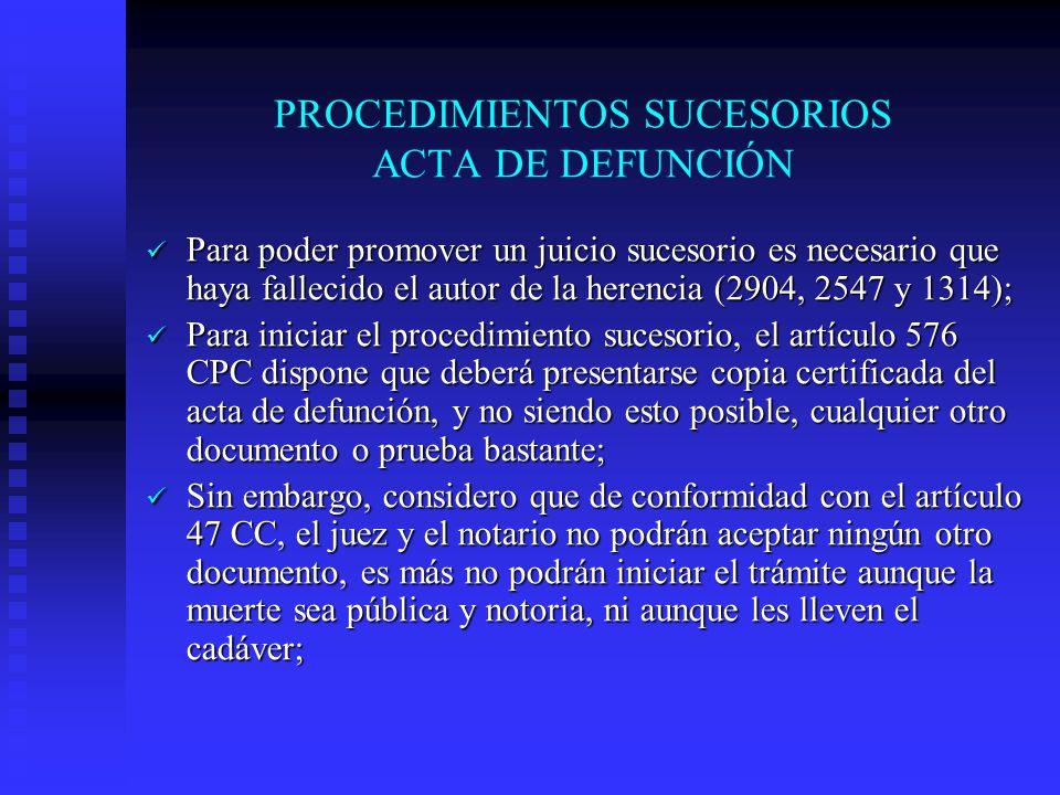 PROCEDIMIENTOS SUCESORIOS ACTA DE DEFUNCIÓN