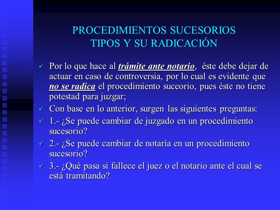 PROCEDIMIENTOS SUCESORIOS TIPOS Y SU RADICACIÓN