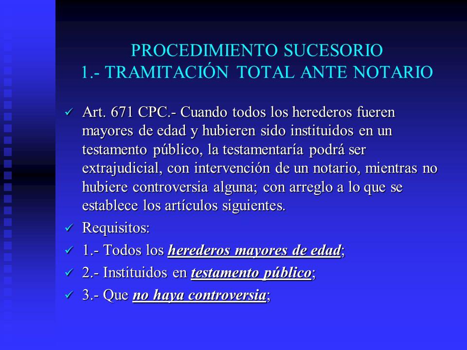 PROCEDIMIENTO SUCESORIO 1.- TRAMITACIÓN TOTAL ANTE NOTARIO
