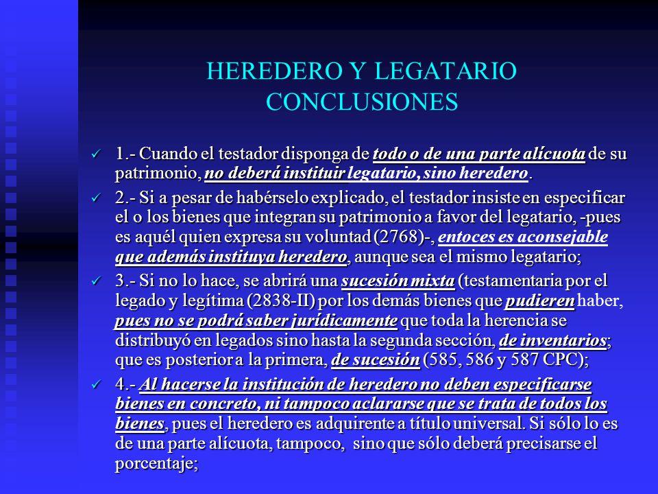 HEREDERO Y LEGATARIO CONCLUSIONES