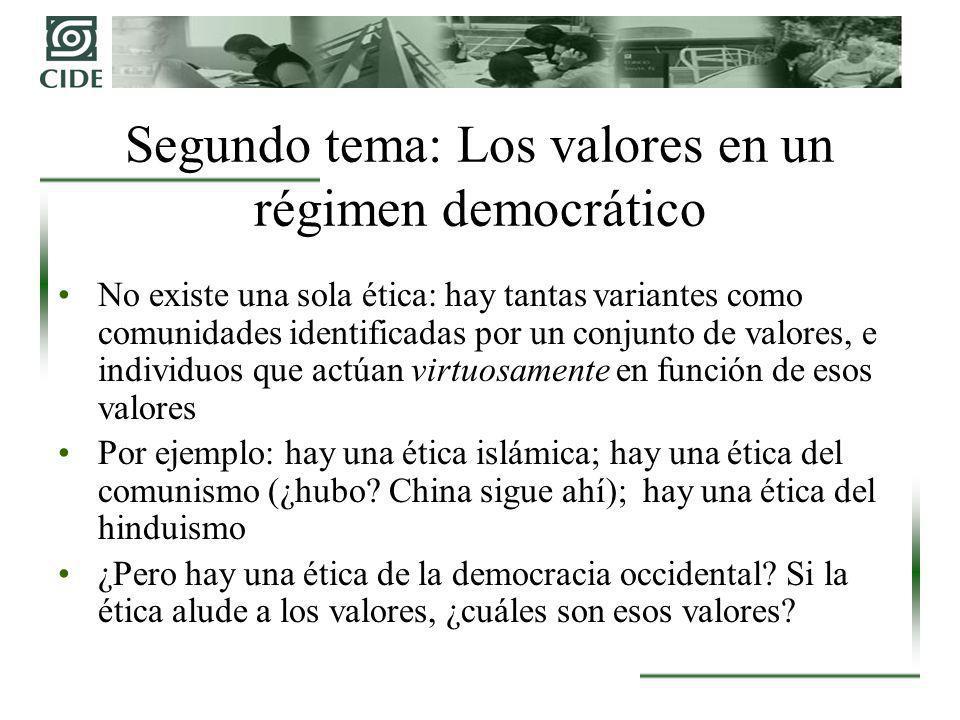 Segundo tema: Los valores en un régimen democrático