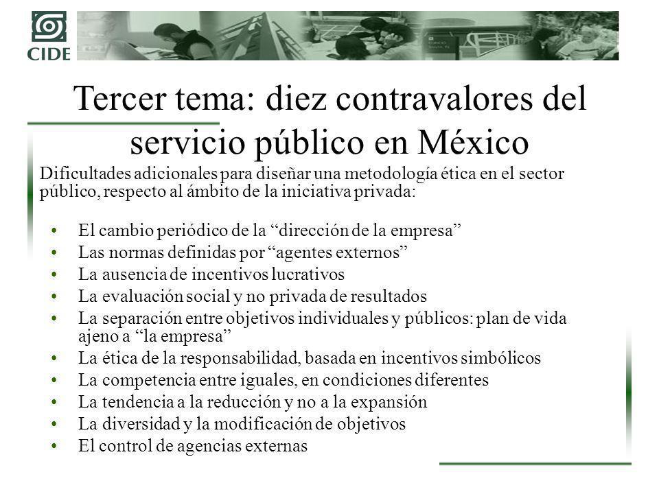 Tercer tema: diez contravalores del servicio público en México