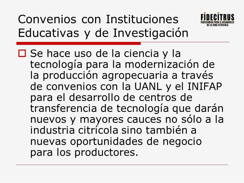 Convenios con Instituciones Educativas y de Investigación