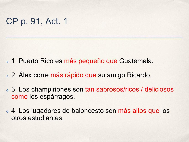 CP p. 91, Act. 1 1. Puerto Rico es más pequeño que Guatemala.