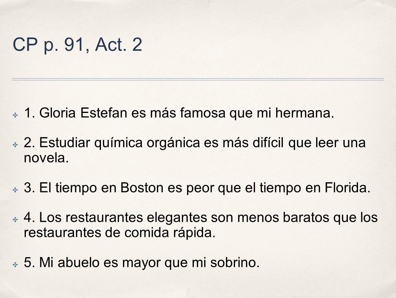 CP p. 91, Act. 2 1. Gloria Estefan es más famosa que mi hermana.