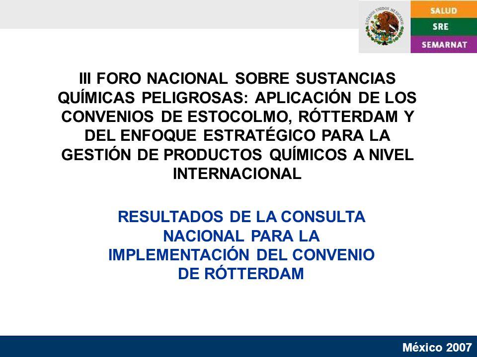 III FORO NACIONAL SOBRE SUSTANCIAS QUÍMICAS PELIGROSAS: APLICACIÓN DE LOS CONVENIOS DE ESTOCOLMO, RÓTTERDAM Y DEL ENFOQUE ESTRATÉGICO PARA LA GESTIÓN DE PRODUCTOS QUÍMICOS A NIVEL INTERNACIONAL