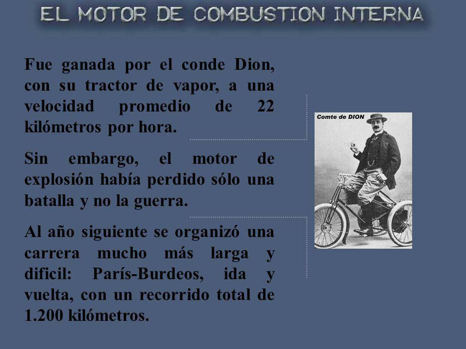 Fue ganada por el conde Dion, con su tractor de vapor, a una velocidad promedio de 22 kilómetros por hora.