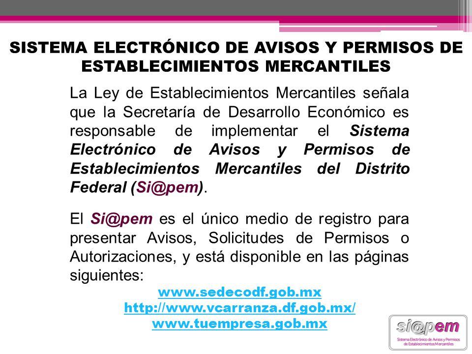 SISTEMA ELECTRÓNICO DE AVISOS Y PERMISOS DE ESTABLECIMIENTOS MERCANTILES