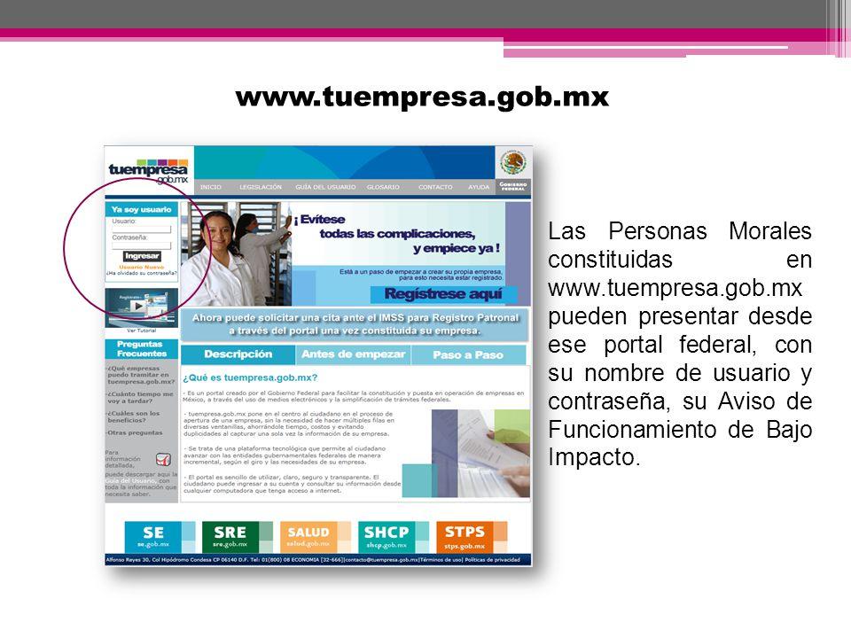 www.tuempresa.gob.mx Las Personas Morales constituidas en www.tuempresa.gob.mx.