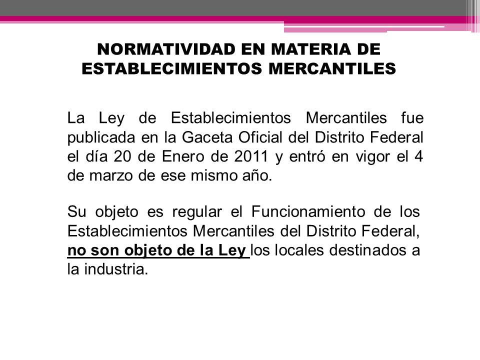 NORMATIVIDAD EN MATERIA DE ESTABLECIMIENTOS MERCANTILES