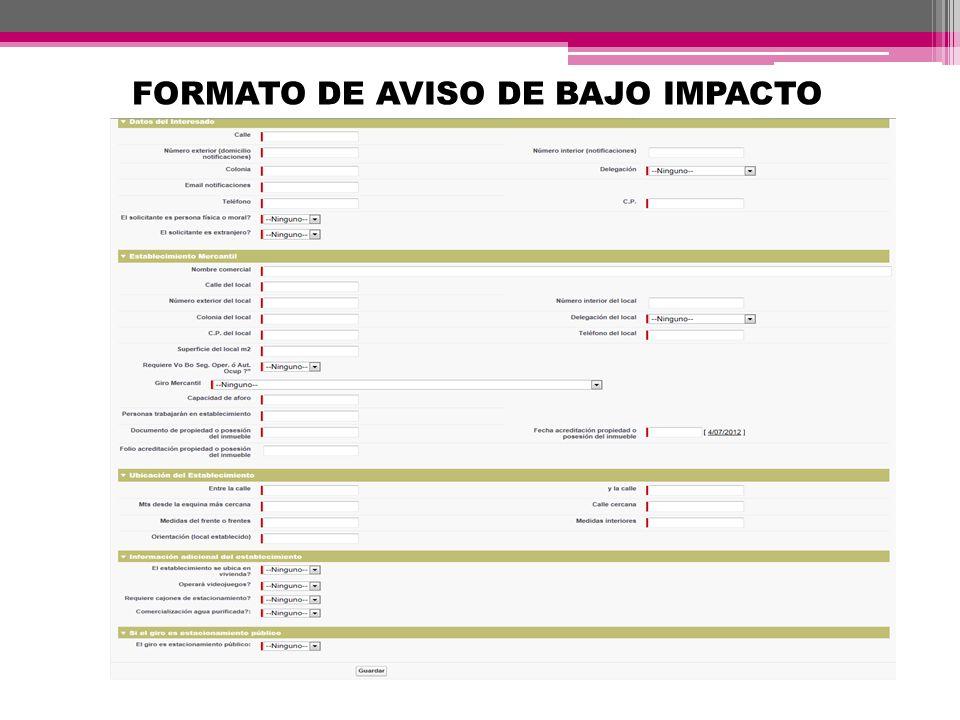 FORMATO DE AVISO DE BAJO IMPACTO
