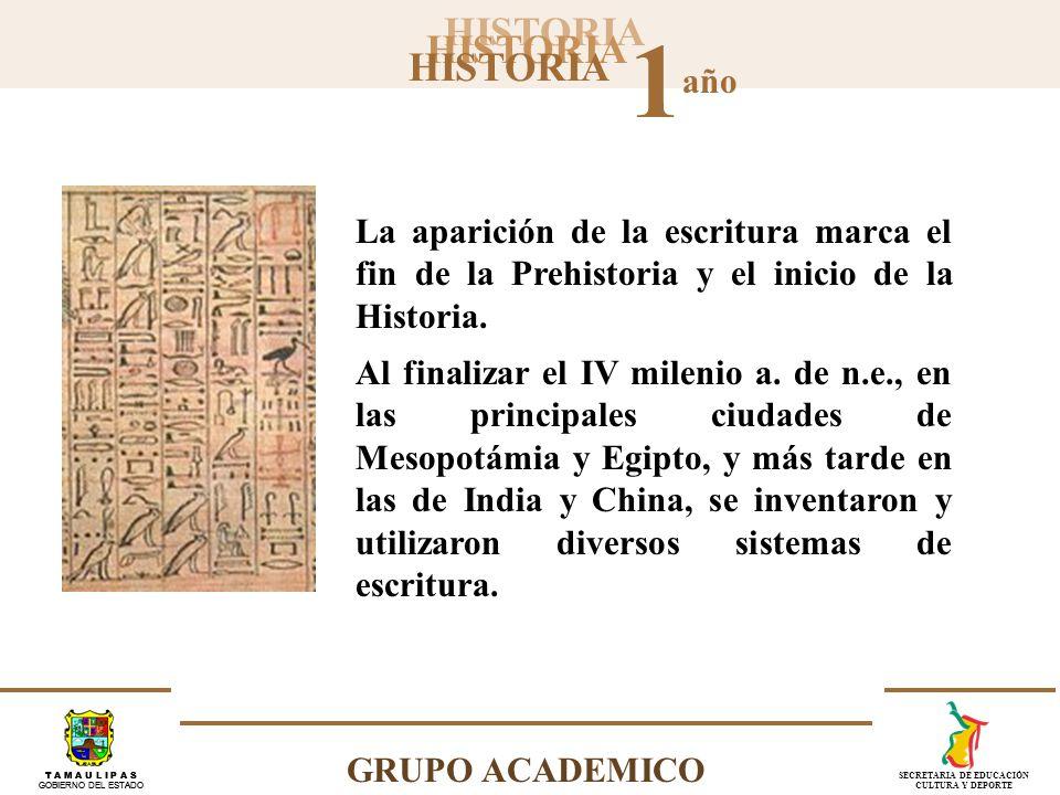 La aparición de la escritura marca el fin de la Prehistoria y el inicio de la Historia.