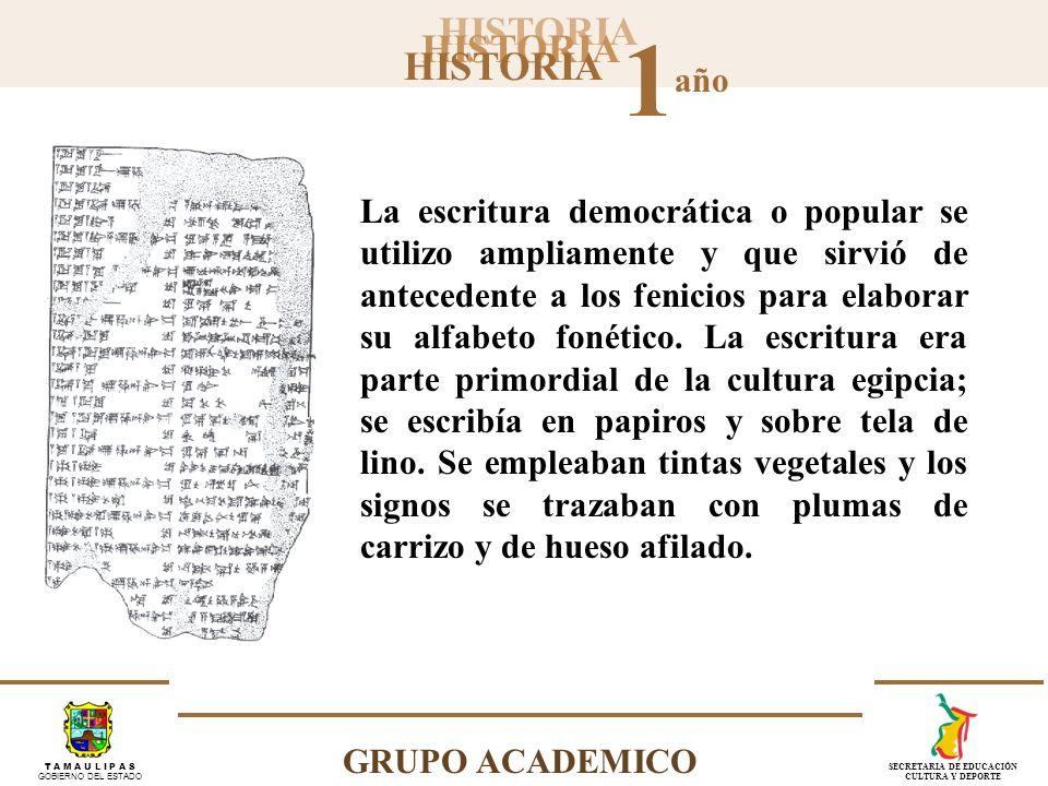 La escritura democrática o popular se utilizo ampliamente y que sirvió de antecedente a los fenicios para elaborar su alfabeto fonético.