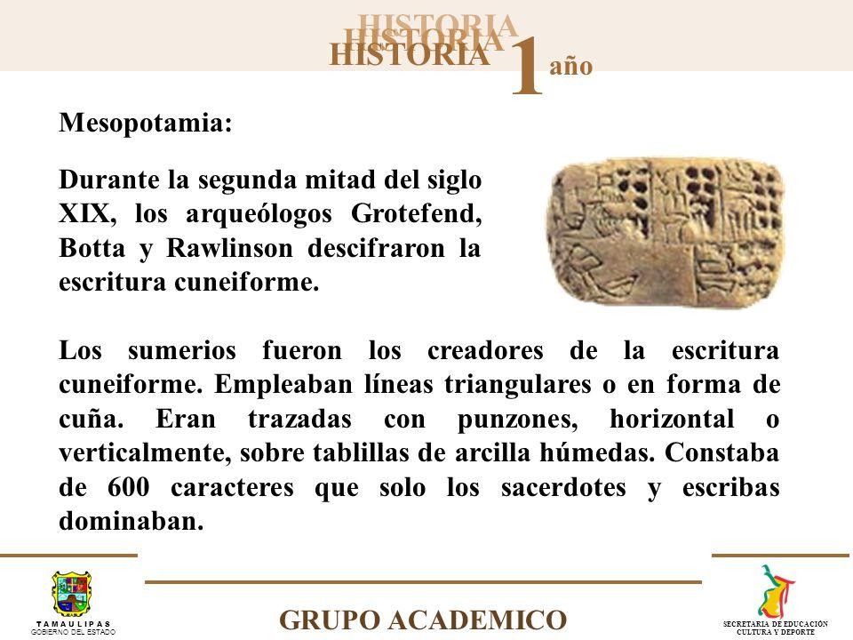 Mesopotamia: Durante la segunda mitad del siglo XIX, los arqueólogos Grotefend, Botta y Rawlinson descifraron la escritura cuneiforme.