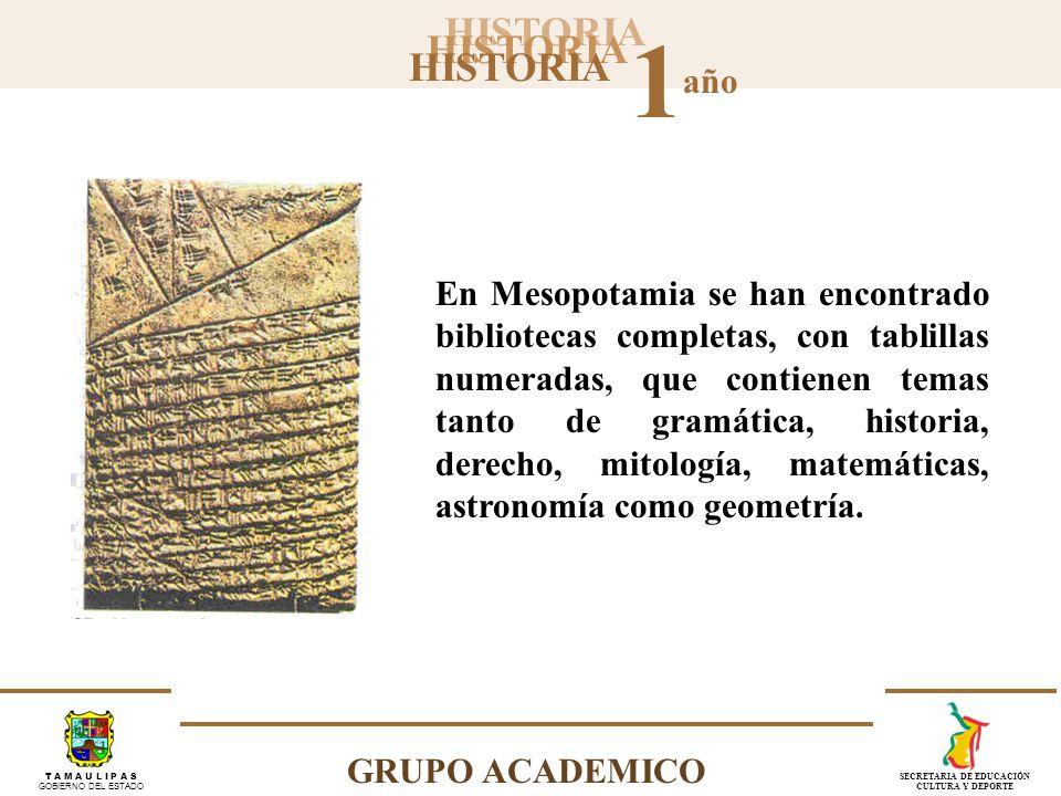 En Mesopotamia se han encontrado bibliotecas completas, con tablillas numeradas, que contienen temas tanto de gramática, historia, derecho, mitología, matemáticas, astronomía como geometría.
