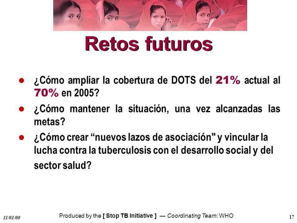 Retos futuros ¿Cómo ampliar la cobertura de DOTS del 21% actual al 70% en 2005 ¿Cómo mantener la situación, una vez alcanzadas las metas