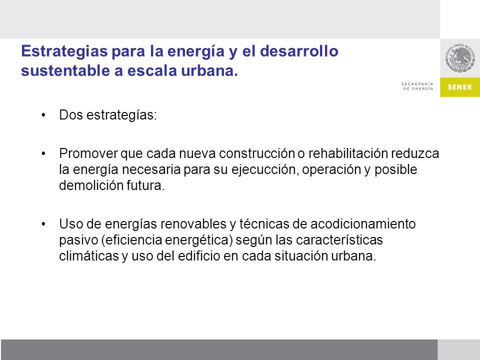 Estrategias para la energía y el desarrollo sustentable a escala urbana.