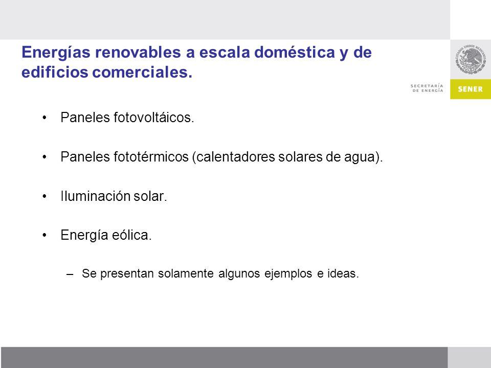 Energías renovables a escala doméstica y de edificios comerciales.