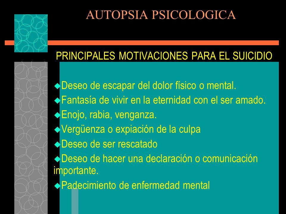 PRINCIPALES MOTIVACIONES PARA EL SUICIDIO