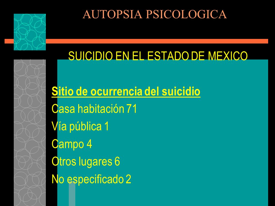 SUICIDIO EN EL ESTADO DE MEXICO