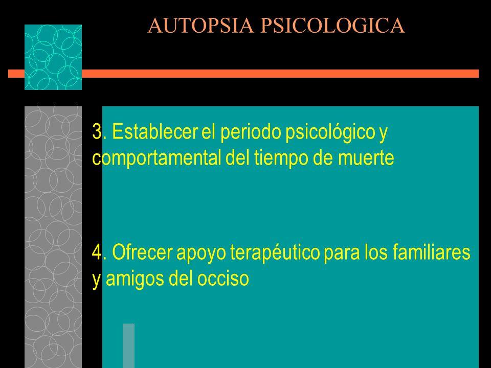 AUTOPSIA PSICOLOGICA 3. Establecer el periodo psicológico y comportamental del tiempo de muerte.