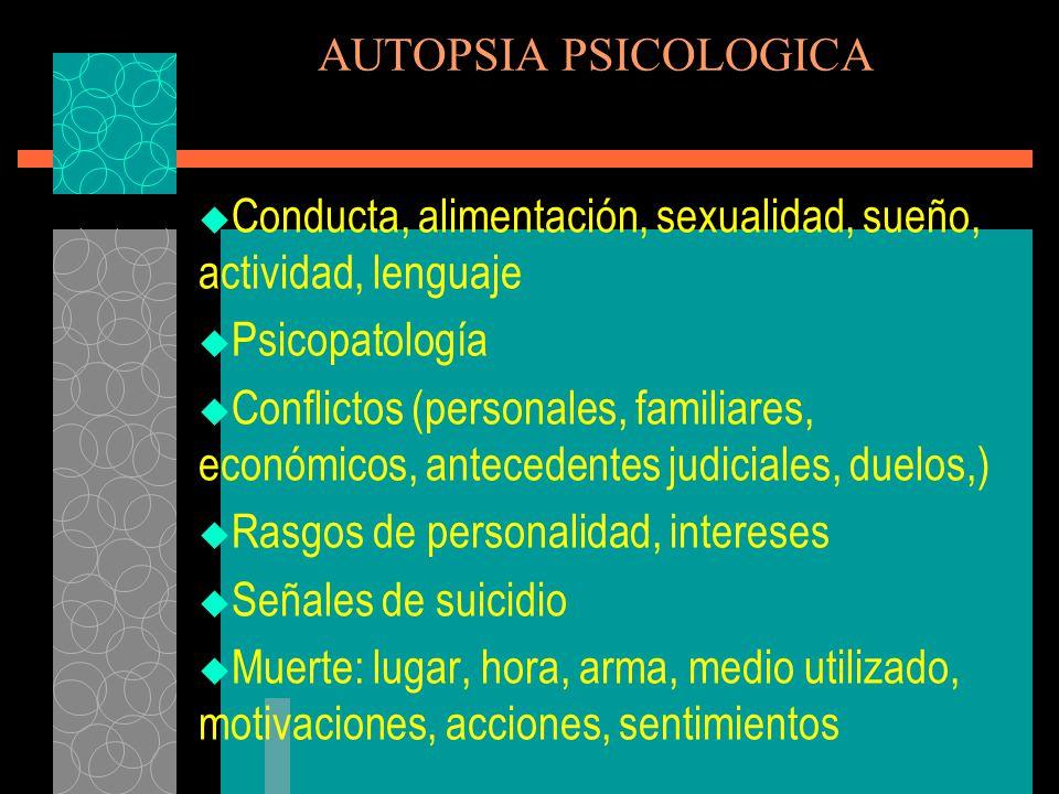 AUTOPSIA PSICOLOGICA Conducta, alimentación, sexualidad, sueño, actividad, lenguaje. Psicopatología.