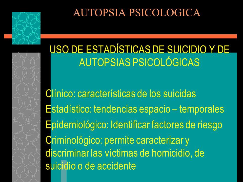 USO DE ESTADÍSTICAS DE SUICIDIO Y DE AUTOPSIAS PSICOLÓGICAS