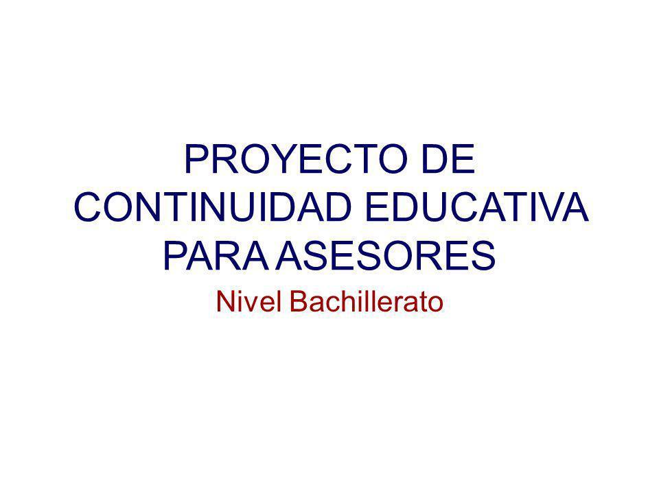 PROYECTO DE CONTINUIDAD EDUCATIVA PARA ASESORES