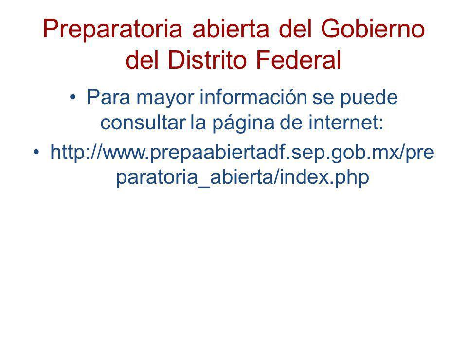 Preparatoria abierta del Gobierno del Distrito Federal