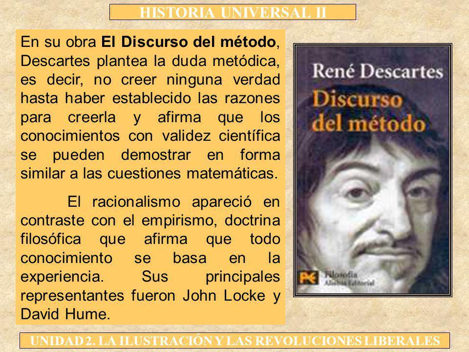 En su obra El Discurso del método, Descartes plantea la duda metódica, es decir, no creer ninguna verdad hasta haber establecido las razones para creerla y afirma que los conocimientos con validez científica se pueden demostrar en forma similar a las cuestiones matemáticas.