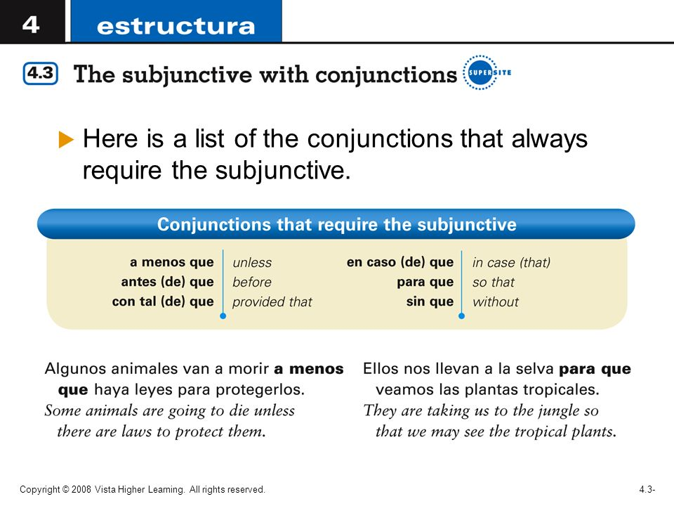 Here is a list of the conjunctions that always require the subjunctive.
