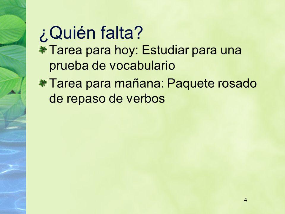 ¿Quién falta Tarea para hoy: Estudiar para una prueba de vocabulario